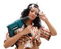Repair woman with driller Royalty Free Stock Photo