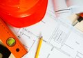 Repair work. Drawings for building, helmet, ruler Royalty Free Stock Photo