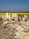 Repaired Cotswold stone field wall Royalty Free Stock Photo
