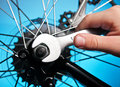 Repairing bike Stock Images