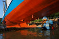 Repairing boat technicians are the damaged karimun island central java indonesia Stock Image