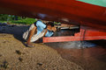Repairing boat technicians are the damaged karimun island central java indonesia Royalty Free Stock Images