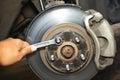 Repairing brakes on car Royalty Free Stock Photo