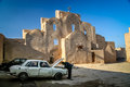 Repairing car in yazd man his inside the historic old town of iran Royalty Free Stock Image