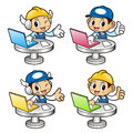 Repairman Character information desk in notebook computer. Royalty Free Stock Photo
