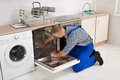 Repairman fixing dishwasher young with screwdriver in kitchen Stock Image