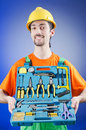 Repairman with his toolkit Stock Photography