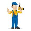 Repairman holds screw gun