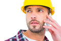 Repairman on the phone Royalty Free Stock Photo