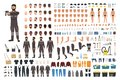 Repairman or serviceman creation kit. Bundle of male cartoon character body details, faces, gestures, clothes, working