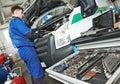 Repairman servicing auto car Royalty Free Stock Photo