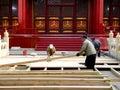Repairmen repairing Biyong Temple road Royalty Free Stock Photo
