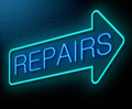 Repairs concept illustration depicting an illuminated neon sign with a Royalty Free Stock Images