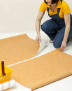 Repairs in the house woman unrolling wallpaper Royalty Free Stock Photography