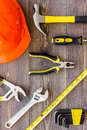 Reparing home concept. Tools on wooden desk background top view