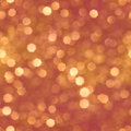 Repeatable golden bokeh shapes christmas background of transparent real particles scattered on red Royalty Free Stock Photo