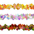Repeatable square pattern paragraph divider line design set - vector design elements from colored rounded squares
