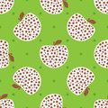Repeated apples with polka dot. Cute seamless pattern for children.