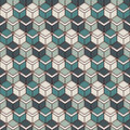 Repeated blue color cubes background. Geometric shapes wallpaper. Seamless surface pattern design with polygons. Royalty Free Stock Photo