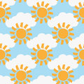 Repeated clouds and suns painted with a rough brush. Colour seamless pattern.