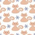 Repeated cute cats and flowers. Seamless pattern for children.