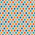 Repeated diamonds and lines background. Geometric motif. Seamless surface pattern with bright colors rhombuses ornament.