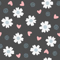 Repeated flowers, hearts and dots. Seamless pattern.