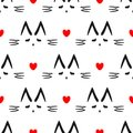 Repeated heart and outline of cat`s head drawn by hand. Cute seamless pattern for children.