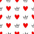 Repeated hearts and crowns drawn by hand. Cute seamless pattern. Sketch, doodle, scribble.