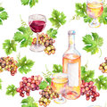 Repeated pattern. Wine glass, bottle, vine leaves, grape berries. Watercolor. Royalty Free Stock Photo