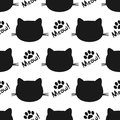 Repeated silhouettes of cat heads and paws. Lettering Meow! Seamless pattern.