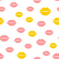 Repeated silhouettes of female lips. Cute seamless pattern.