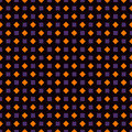 Repeated squares and diamonds abstract background. Geometric motif. Seamless pattern in Halloween traditional colors.