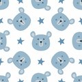 Repeated stars and heads of funny bears. Cute seamless pattern for children.