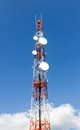 Repeater stations or telecommunications tower in a day of clear blue sky Royalty Free Stock Photography
