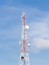 Repeater stations or telecommunications tower in a day of clear blue sky Stock Photography