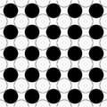 Repeating abstract black and white circle pattern - simple vector background design