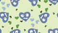 Repeating blue heartache symbols pattern of heartbroken heart over green Stock Photo