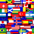 Repeating flags background of the world tileable wallpaper Royalty Free Stock Photography