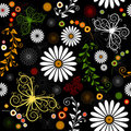 Repeating floral black pattern Stock Image