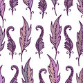 Repeating floral and feather pattern. Seamless texture.