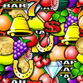 Repeating fruit machine background symbols seamless wallpaper Royalty Free Stock Photos