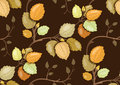 Repeating pattern with swirling autumn leaves branches Stock Photos