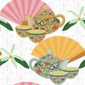 Repeating pattern with teapot, cups and oriental fans. Royalty Free Stock Photo