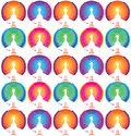 Repeating peacocks background design bright colorful psychedelic peacock pattern Stock Photography