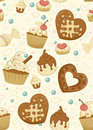 Repeating wallpaper with cakes Royalty Free Stock Photo