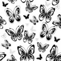 Repeating white pattern with butterflies Stock Images