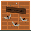 It repels insects an insect repellent sign on a wall with mosquitoes Royalty Free Stock Image