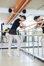 Repetition in class ballerina keeping balance during Stock Photography