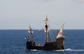 Replica ancient ship time discovery used sightseeing off coast funchal madeira Stock Photography